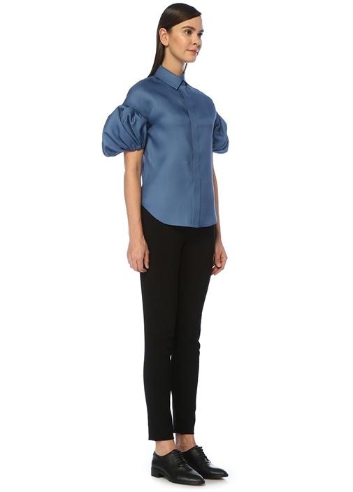 Mavi Balon Kollu İpek Bluz