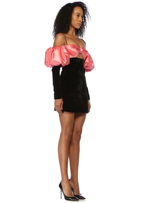 Pembe Siyah Mini Saten Kadife Kokteyl Elbise