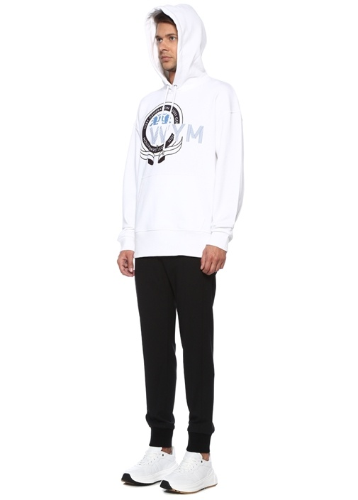 Beyaz Kapüşonlu Baskılı Sweatshirt