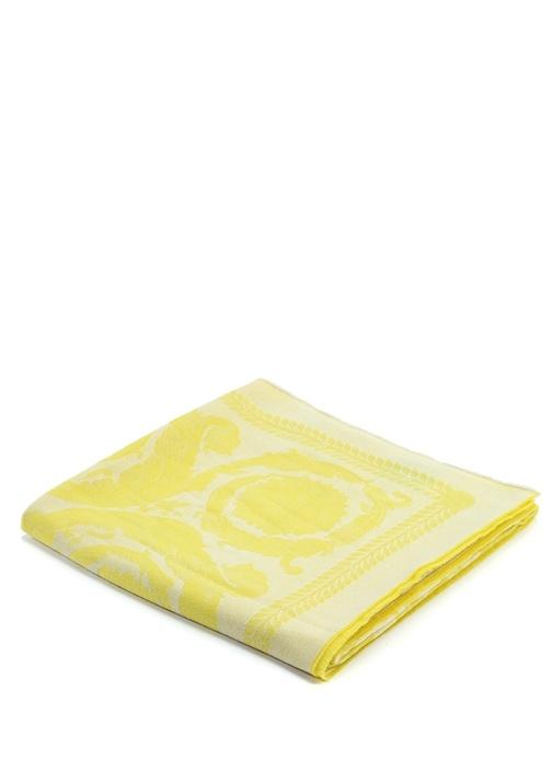 Sarı Barok Jakarlı Kaşmir Throw