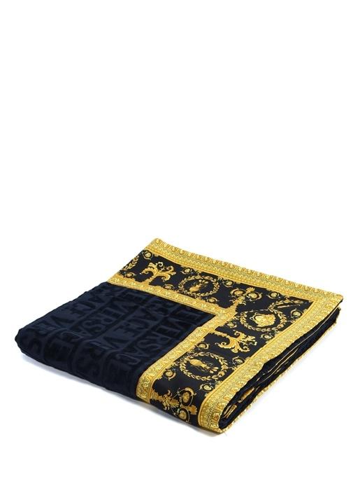 Lacivert Gold Barok Baskılı Havlu
