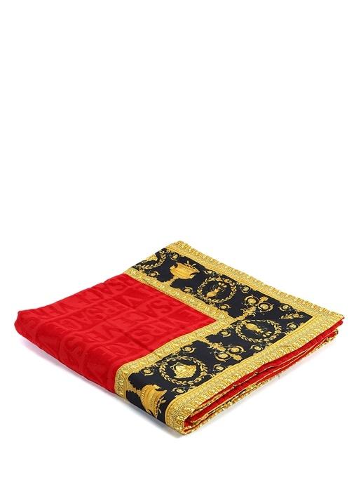 Kırmızı Gold Barok Baskılı Havlu