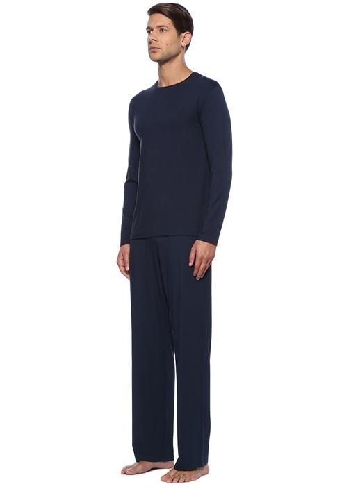 Lacivert Kordonlu Boru Paça Jersey Pijama Altı