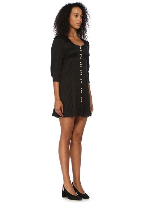 Siyah U Yaka Kalpli Düğmeli Mini Elbise