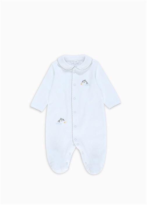 Beyaz Bebe Yaka İşlemeli Erkek Bebek Tulum