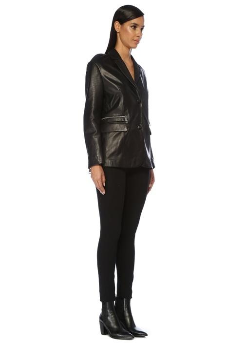 Mariel Siyah Arkası Fermuarlı Deri Blazer Ceket