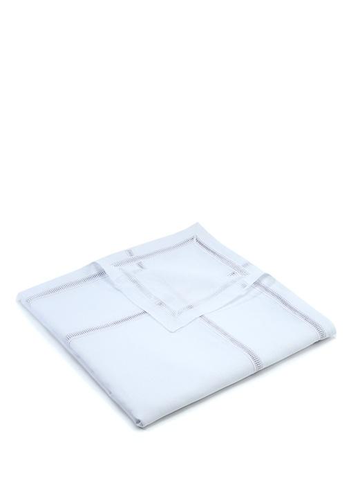Beyaz Dantel Şeritli Keten Masa Örtüsü