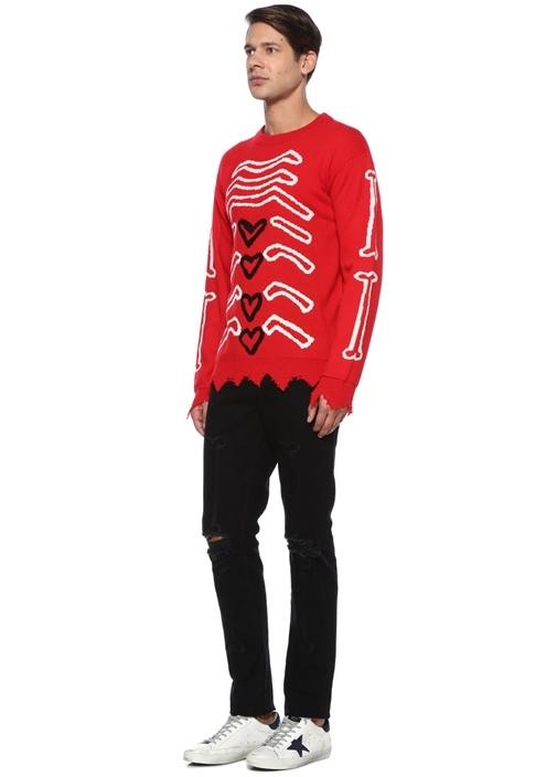 My Insides Kırmızı Yıpratma Detaylı YünSweatshirt