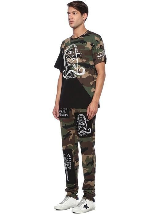 Often Imated Kamuflaj Detaylı Baskılı Basic Tshirt