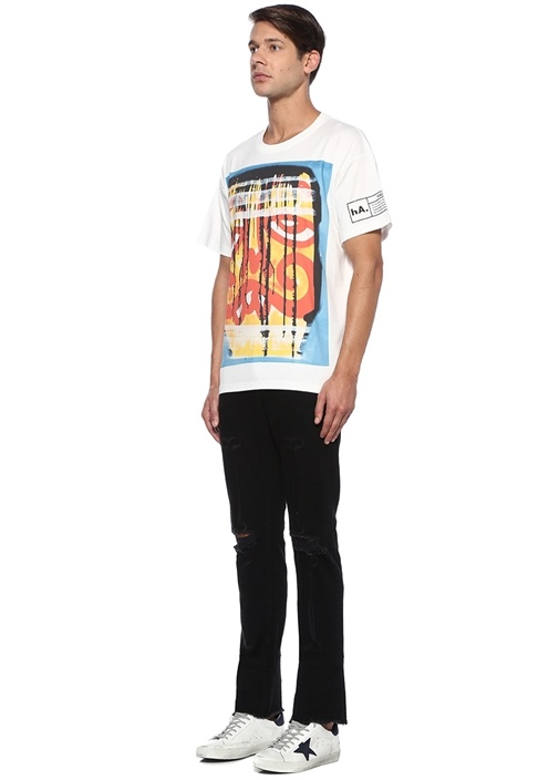 Grilled N Eaten Beyaz Figür Detaylı Basic T-shirt