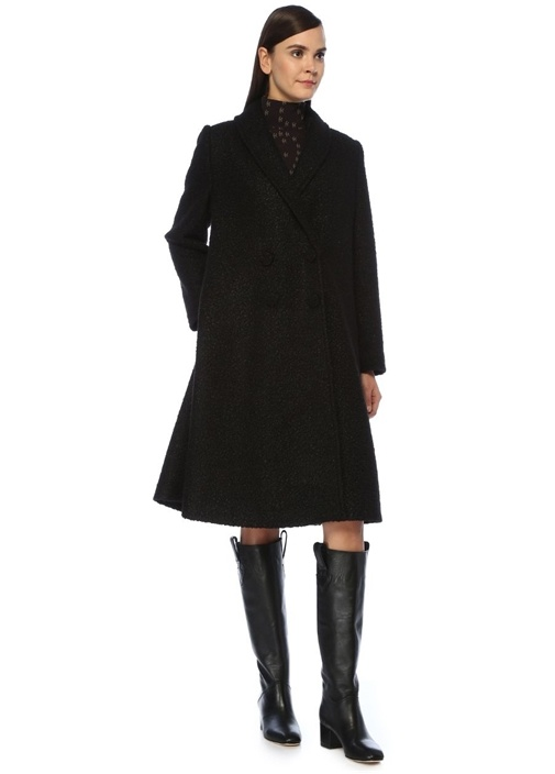 Bea Siyah Şal Yaka Kruvaze Palto
