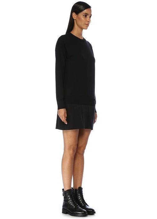 Siyah İpek Etek Garnili Mini Yün Triko Elbise
