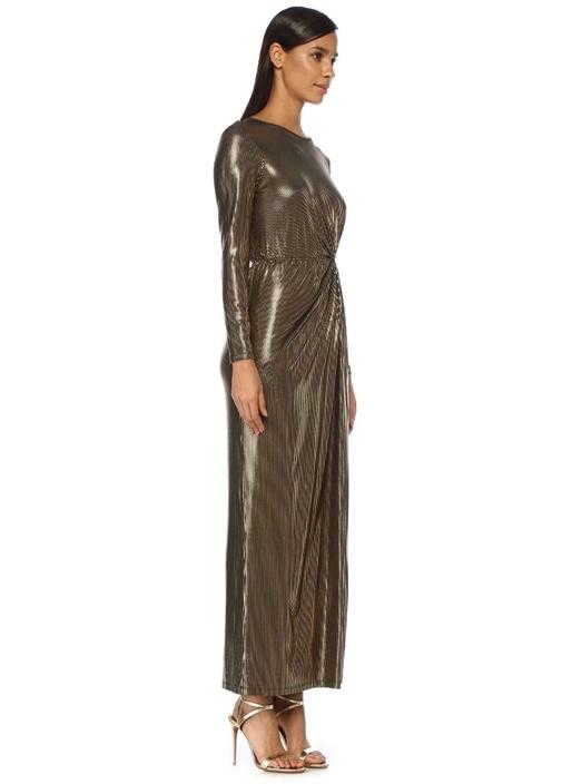Mavis Gold Büzgü Detaylı Maksi Abiye Elbise