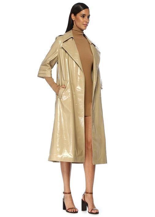 Kamel Dik Yaka Uzun Kol Mini Triko Elbise