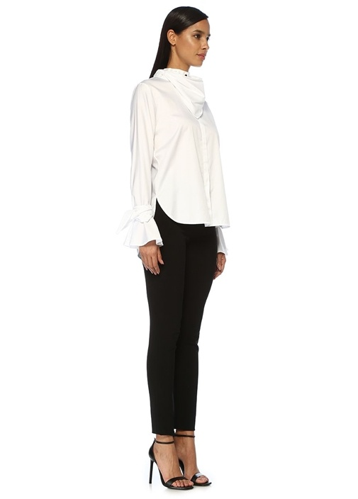 Bengi Slim Fit Beyaz Fular Detaylı Gömlek
