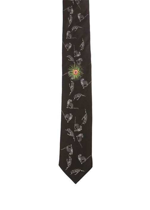 Siyah Çita Baskılı İpek Kravat