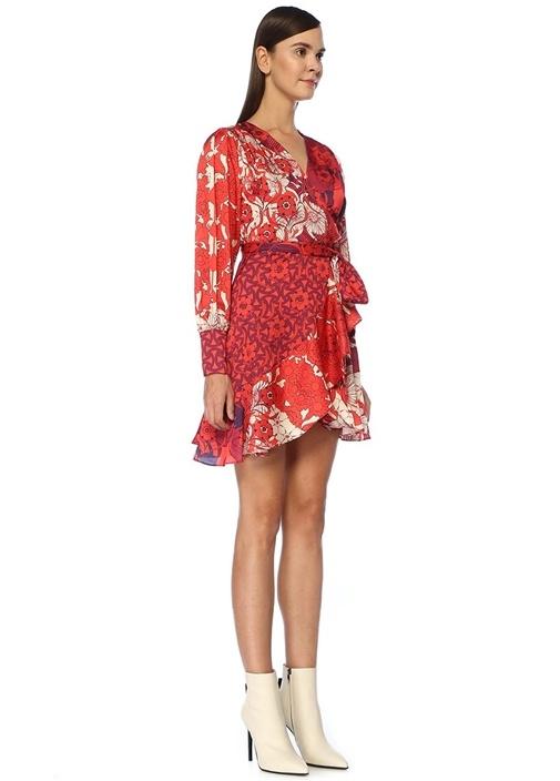 Kırmızı V Yaka Desenli Mini Krep Anvelop Elbise