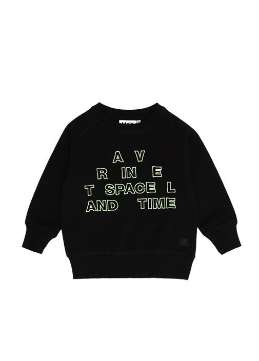 Mike Siyah Yazı Nakışlı Erkek Çocuk Sweatshirt