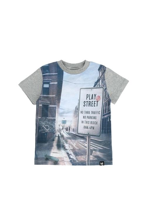 Road Gri Karışık Baskılı Erkek Çocuk T-shirt