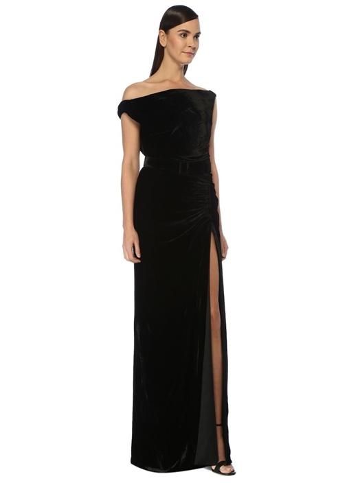 Siyah Drapeli Kemerli Maksi Kadife Abiye Elbise