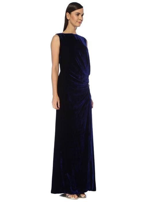 Lacivert Taşlı Tokalı Maksi Kadife Abiye Elbise