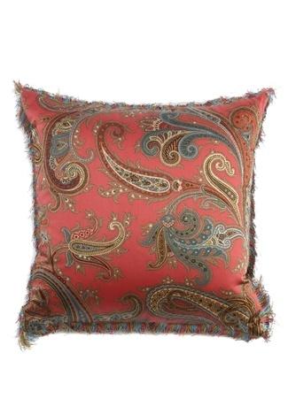 Etro Home Pembe Püsküllü Desenli 45x45 cm Dekoratif Yastık Kırmızı Standart