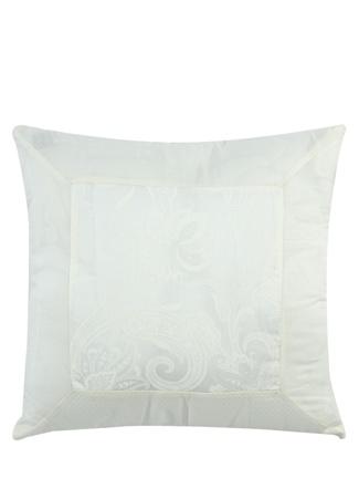 Etro Home Beyaz Etnik Desenli 45x45 cm Dekoratif Yastık Bej Standart