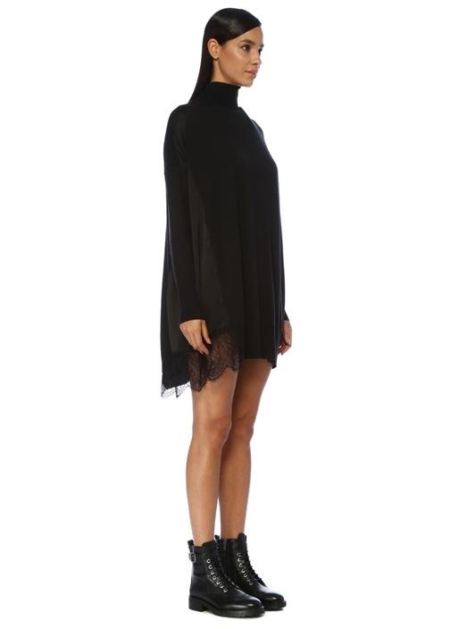 Siyah Balıkçı Yaka Dantelli Mini Triko Elbise
