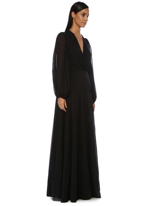 Sofia Siyah V Yaka Maksi İpek Şifon Abiye Elbise