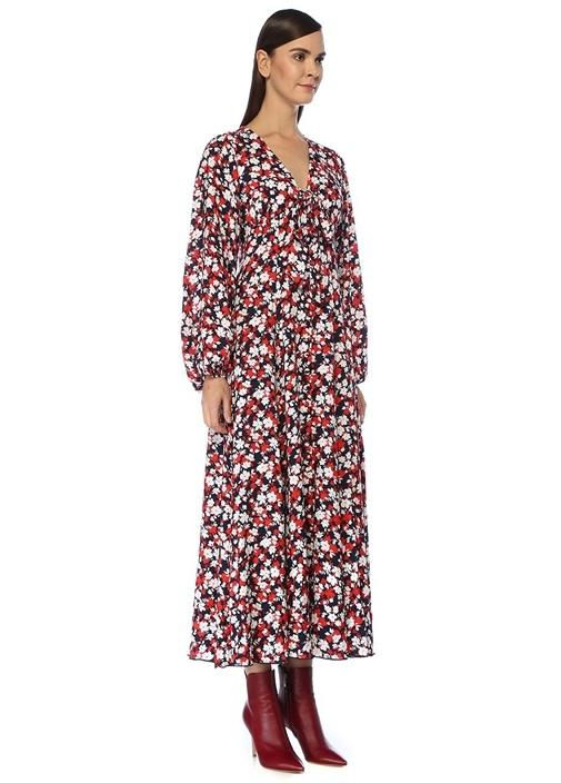 Kırmızı V Yaka Çiçekli Bağcıklı Midi Elbise