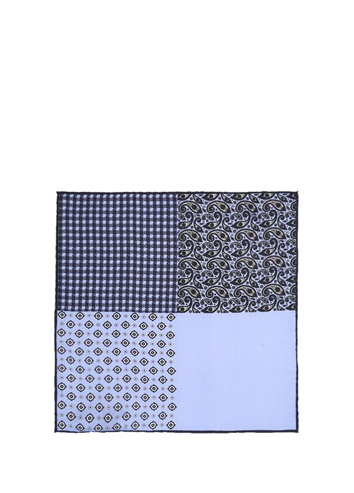 Mavi Geometrik Formlu İpek Poşet Mendil