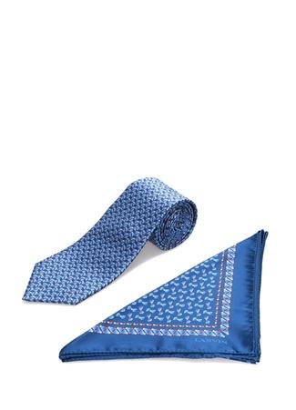 Lanvin Erkek Mavi Baskılı İpek Poşet Mendil ve Kravat Seti Lacivert EU male Standart