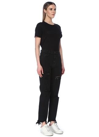 J Brand Kadın Jules Siyah Yüksek Bel Yıpratmalı Jean Pantolon 25 US female