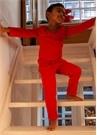 Kırmızı Organik Pamuk Unisex Çocuk Jogger Eşofman