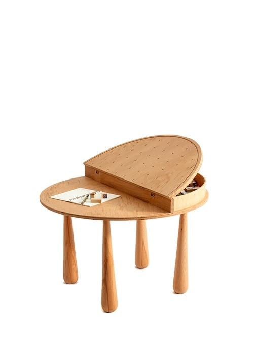 Piano Yuvarlak Formlu Kayın Ağacı Masa