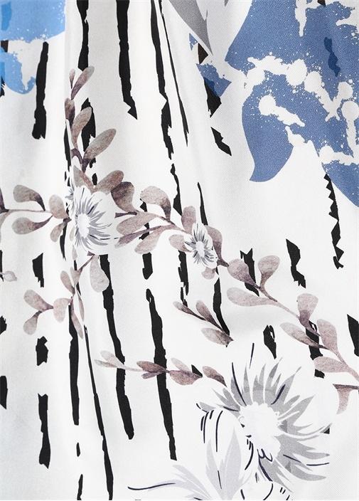 Lacivert Beyaz Çiçekli Kadın İpek 90x90cm Eşarp
