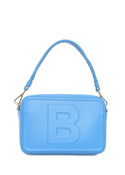 Bea Mavi Logolu Kadın Deri Omuz Çantası