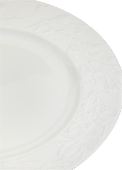 Beyaz Yuvarlak Formlu Porselen Servis Tabağı
