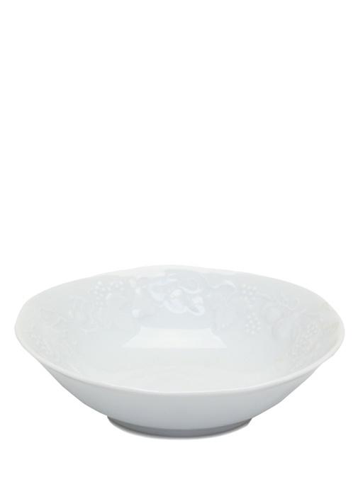 Beyaz Yuvarlak Formlu Porselen Salata Tabağı