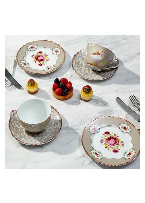 Floral Pip Kuş Desenli Haki Çay Fincanı