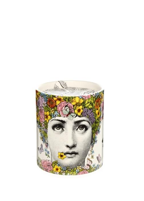 Flora Çiçekli Yüz Baskılı 1900 gr BüyükKokulu Mum