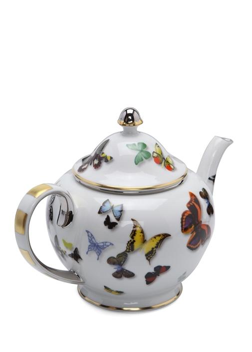 Beyaz Kelebek Baskılı Çay Demliği