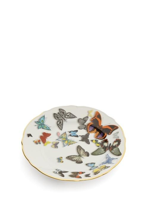Beyaz Kelebek Baskılı Porselen Tabak