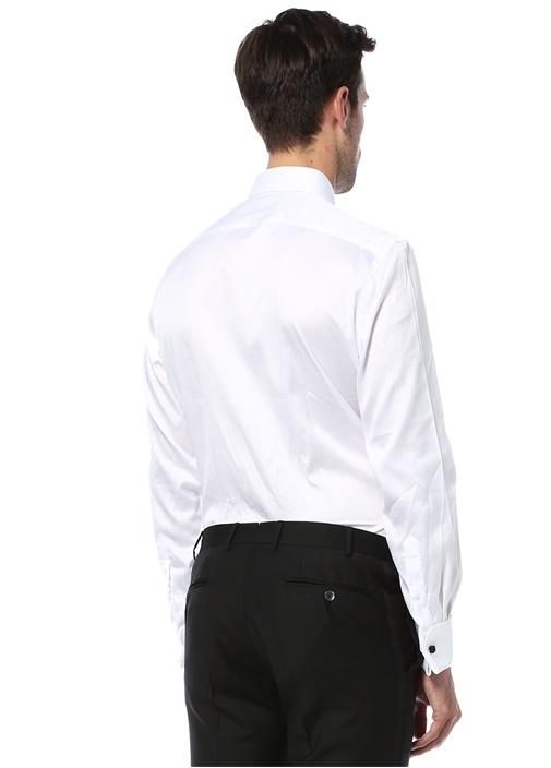 Custom Fit Beyaz Erkek Yaka Devrik Manset Smokin Gömlegi