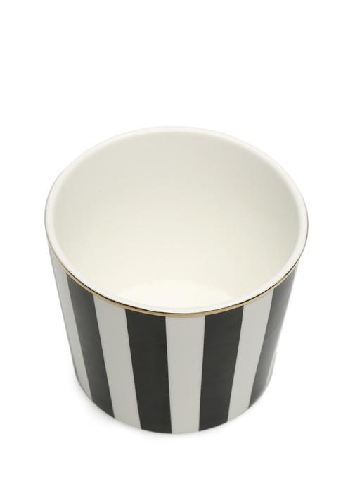 Siyah Beyaz Çizgili Seramik Kupa