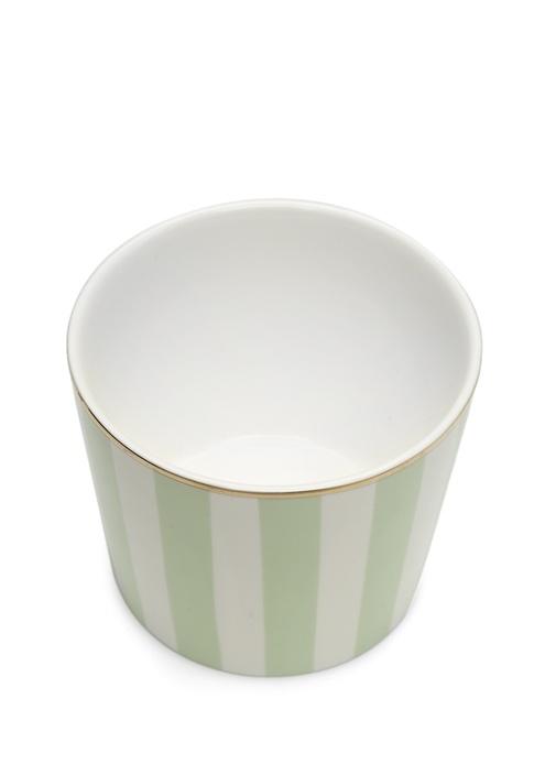 Yeşil Beyaz Çizgili Seramik Kupa