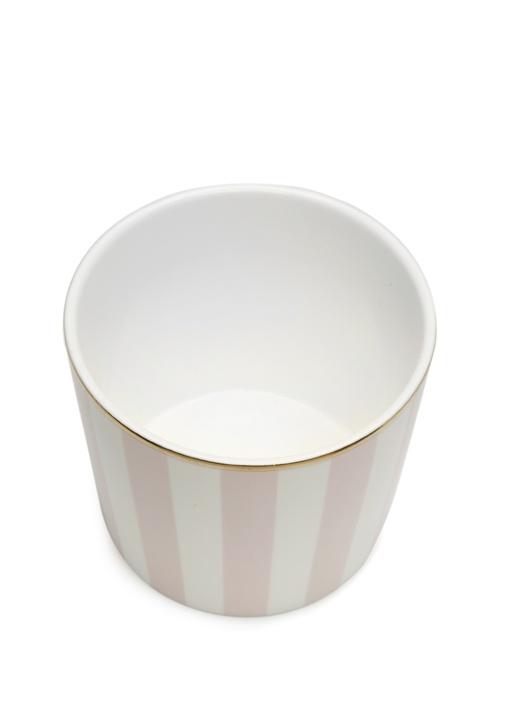 Pembe Beyaz Çizgili Seramik Kupa