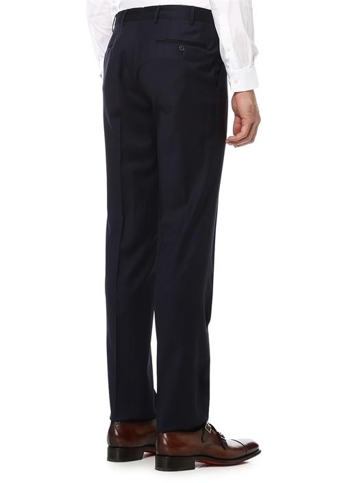7 Drop Standart Fit Lacivert Pilesiz Fermuarli Yün Pantolon