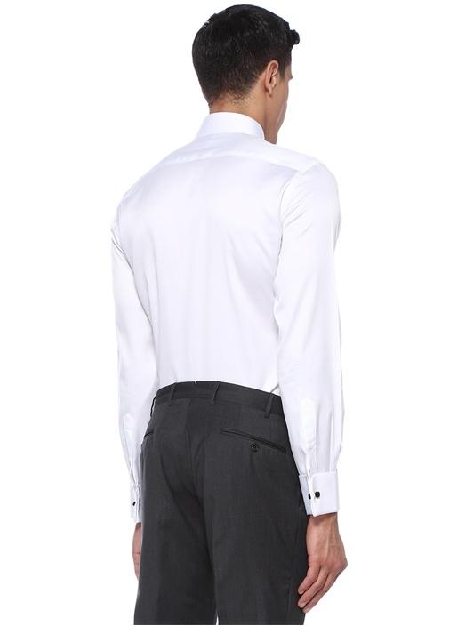 Custom Fit Beyaz Sivri Yaka Klasik Gömlek
