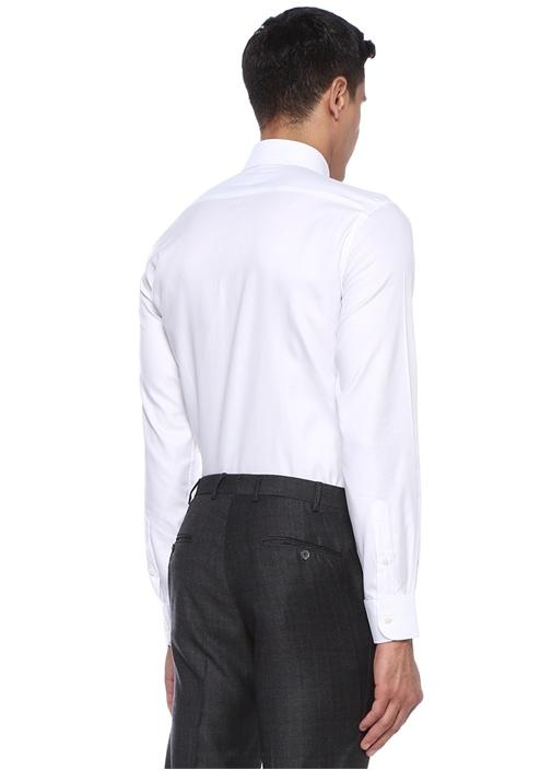 Custom Fit Beyaz İtalyan Yaka Dokulu Klasik Gömlek